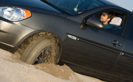 Car stuck in sand